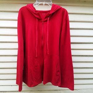 EILEEN FISHER Red Zipper Jacket w/Hoodie
